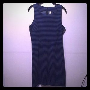 Black & Blue horizontal striped dress